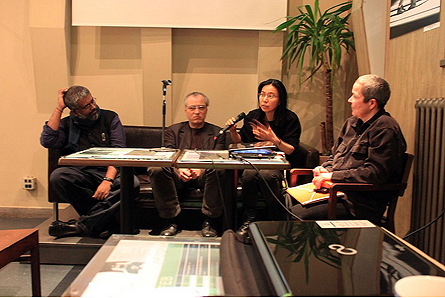 Design & People Co-founder Sethu Das (Left) joins Sugár János, Keiko Sei, Prof Yvonne P Doderer and Eross Nikolett for a Political Design workshop at Trafo House of Contemporary Arts, Hungary on February 27, 2012. (Photo: Trafo)